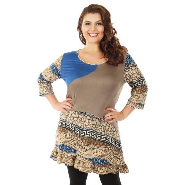 Firmiana Women's Plus Size 3/4 Sleeve Mocha Top