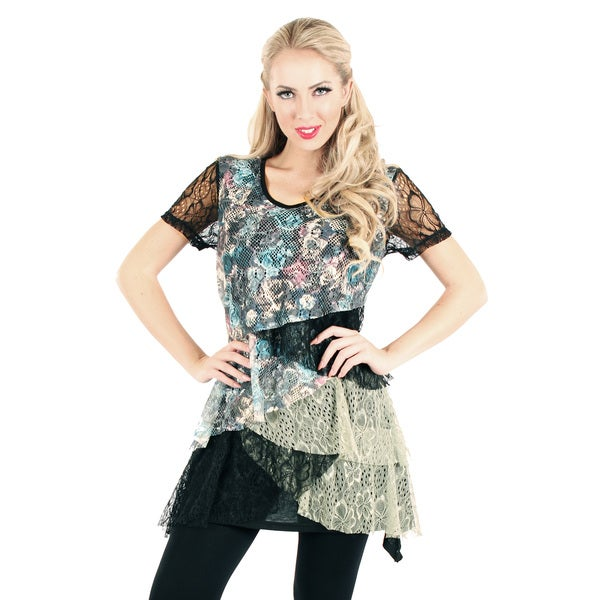 Firmiana Women's Short Sleeve Black/ Multi Lace Top