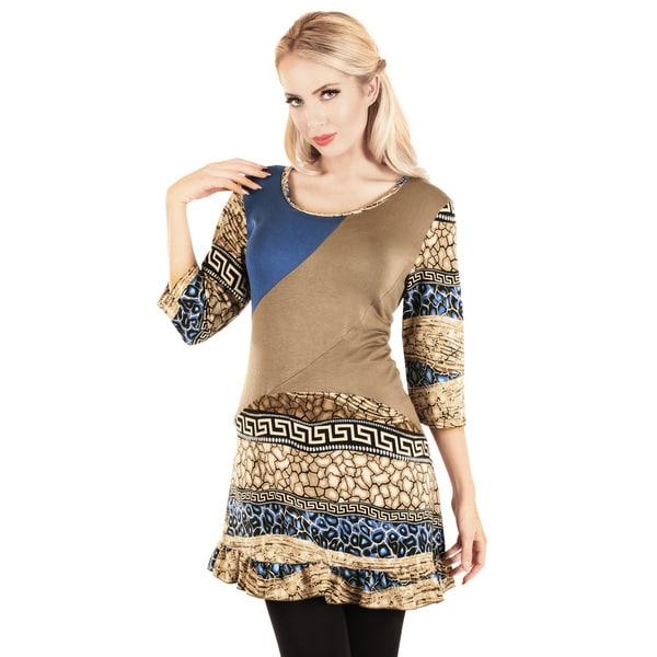 Firmiana Women's 3/4 Sleeve Mocha/ Blue Pattern Top