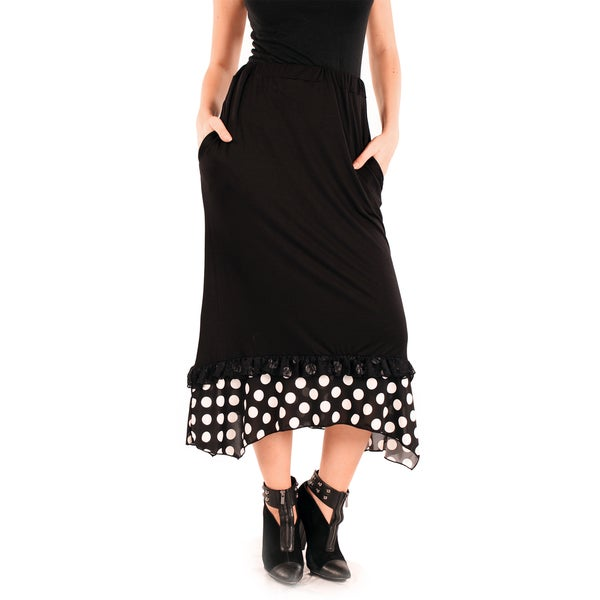 Firmiana Women's Black/ White Polka Dot Ankle Skirt