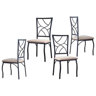 Valletta Wood and Metal Transitional Dining Chairs (Set of 4)
