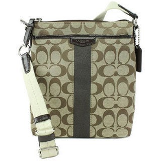 Coach Signature Stripe Khaki Crossbody Bag