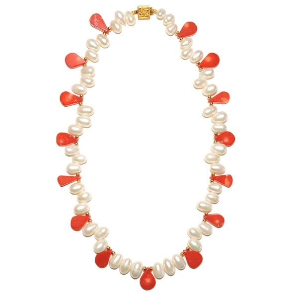 Pear Shaped Coral and Biwa Pearl Necklace