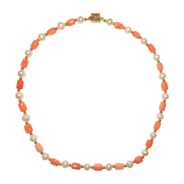 Pink Coral Bead Freshwater Potato Pearl Necklace (5-7 mm)