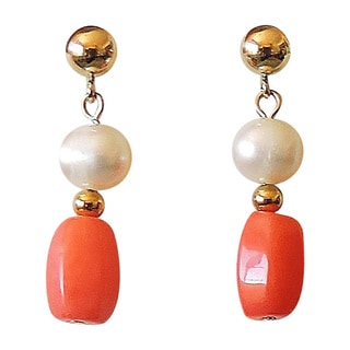 Oval Pink Coral and Potato Pearl Earrings