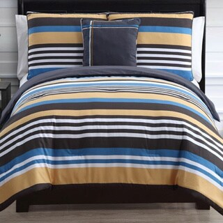 Finn Reversible Stripe Cotton 4-piece Comforter Set