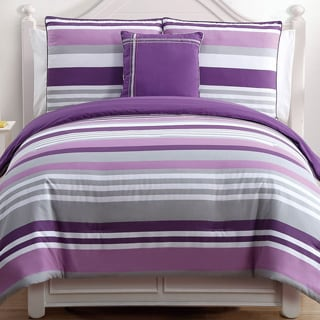 Ava Purple Stripe Reversible 4-piece Cotton Comforter Set