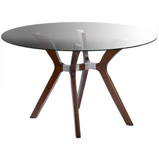 Somette Luisa Dark Walnut Round Dining Table