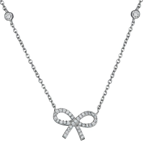 Sterling Silver Micropave Cubic Zirconia Bow Necklace