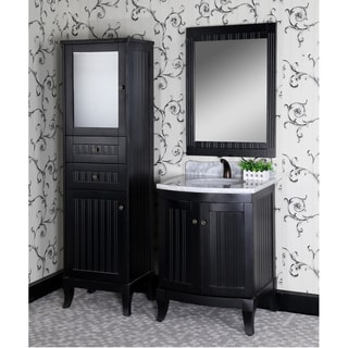 Country Style 27-inch Carrara White Marble Top Single Sink Black Finished 4-piece Bathroom Vanity Set
