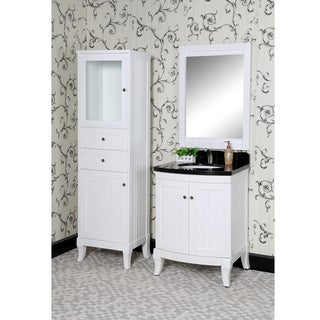 Country Style 27-inch Black Granite Single Sink White Finish 4-piece Bathroom Vanity Set