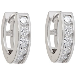 Decadence Sterling Silver Single Strand Micropave Cubic Zirconia Hoop Earrings