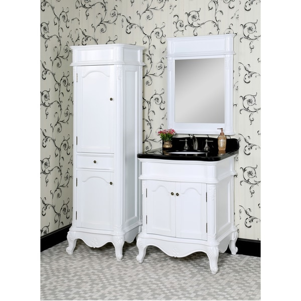 Windsor 36 inch single vanity in white finish with sink and top - Traditional Style 30 Inch Black Granite Single Sink White
