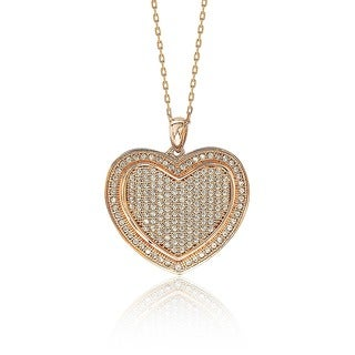 Suzy Levian Valentine's Day Loving Heart Cubic Zirconia Sterling Silver Pendant