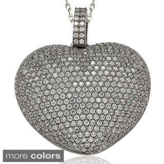 Suzy Levian Sterling Silver Micro Pave Cubic Zirconia Big Puffed Heart Pendant