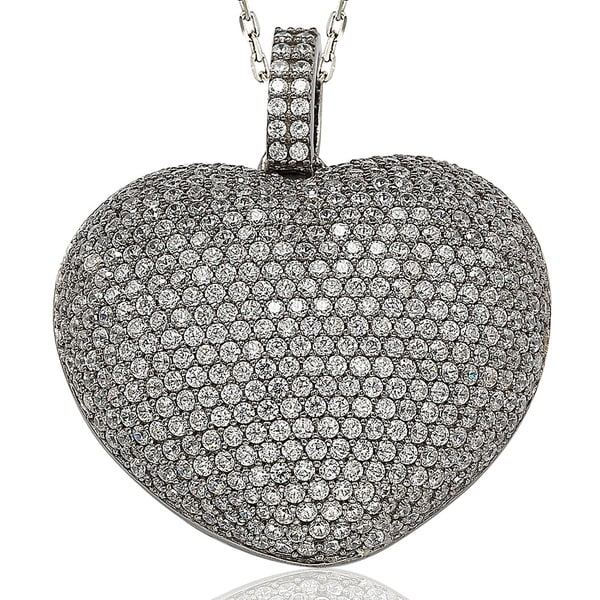 Suzy Levian Sterling Silver Pave Cubic Zirconia Big Heart Pendant