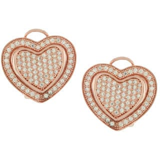Suzy Levian Valentine's Day Loving Heart Cubic Zirconia Rosed Sterling Silver Earrings