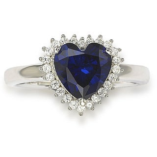 Suzy Levian Valentine's Day Heart Blue Cubic Zirconia Sterling Silver Ring
