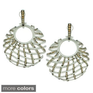 Suzy Levian Sterling Silver White Cubic Zirconia Criss-cross Round Big Dangle Earrings