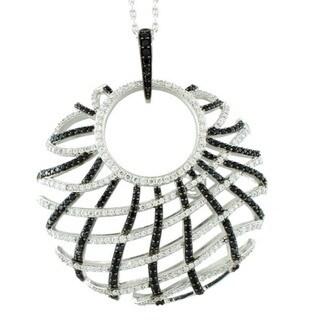 Suzy Levian Sterling Silver White Cubic Zirconia Criss-cross Pendant Necklace