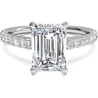 14k White Gold 1ct TDW Contemporary Emerald Diamond Engagement Ring (H-I, VS1-VS2)