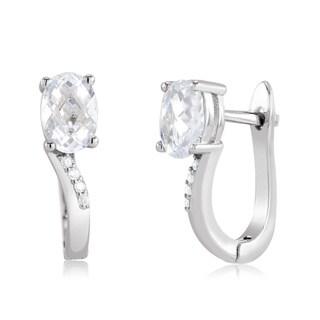 Sterling Silver Oval-cut Cubic Zirconia Huggie Earrings