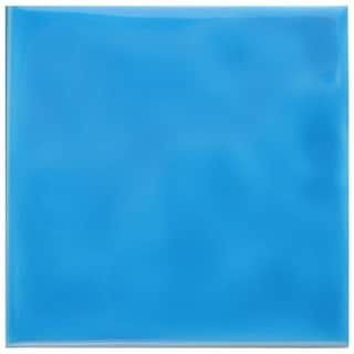 SomerTile 3 3/4 x 3 3/4-inch Curve Square Blue Sky Ceramic Wall Tile (Pack of 9)