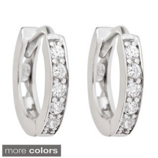 Sterling Silver Single Strand Cubic Zirconia Micropave Hoop Earrings