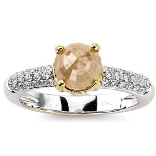 Diamonds for a Cure 18k White Gold Yellow Rough Diamond Ring (G-H, SI1-SI2)