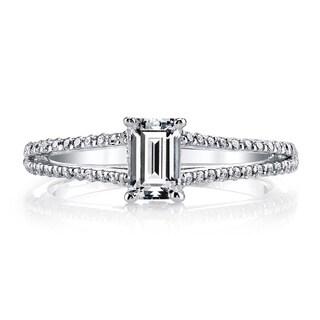 14k White Gold 3/4ct TDW Split Shank Emerald Diamond Engagement Ring (H-I, VS1-VS2)