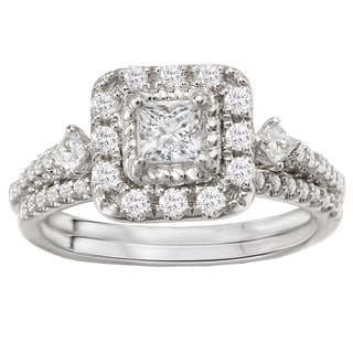 Avanti 14k White Gold 7/8ct TDW Princess Halo Diamond Bridal Ring Set (G-H, SI1-SI2)
