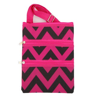 Strawberry Moon Pink/ Black Chevron Cross-body Tote Bag