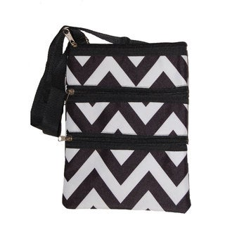 Strawberry Moon Black/ White Chevron Cross-body Tote Bag