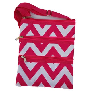 Strawberry Moon Pink Chevron Cross-Body Tote Bag