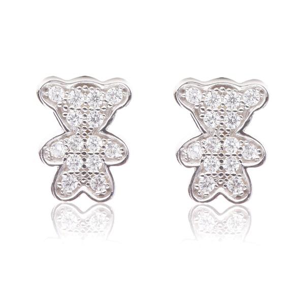 Blue Box Jewels Sterling Silver Cubic Zirconia Teddy Bear Earrings