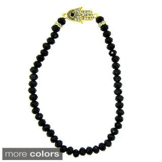 KC Signatures Goldplated Sterling Silver Hamsa Austrian Crystal and Onyx Stretch Bracelet
