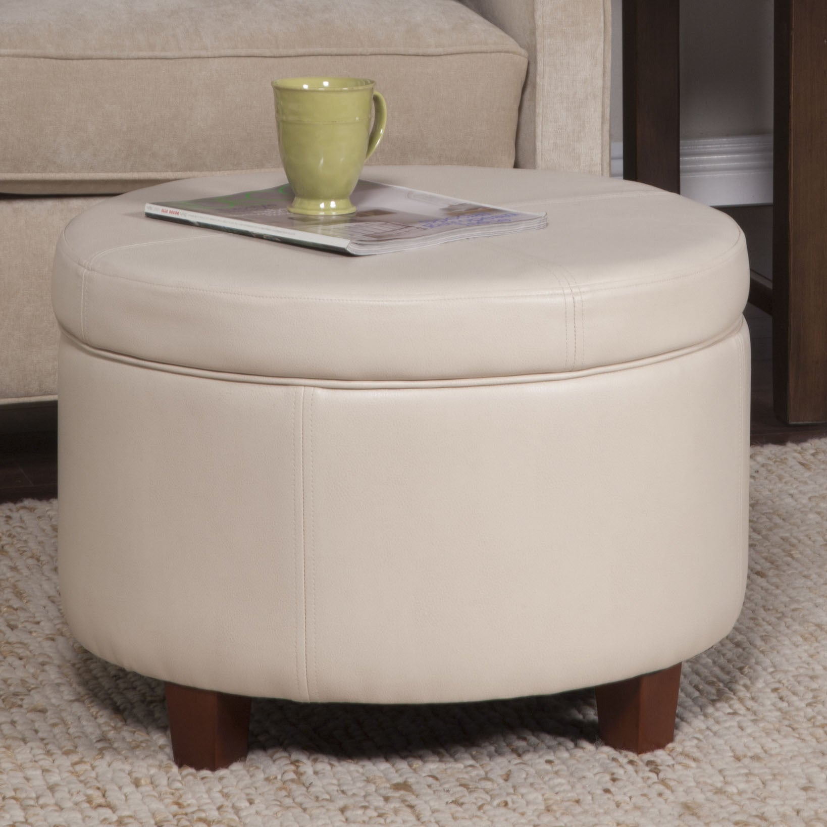 Large Round Ottoman : HomePop Large Ivory Leather Round Storage Ottoman - Overstock Shopping ...