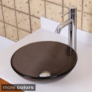 ELITE GD53S+F371023 Natural Small Clear Brown Tempered Glass Bathroom Vessel Sink With Faucet Combo