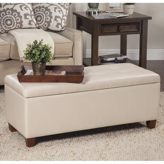 HomePop Large Ivory Storage Bench
