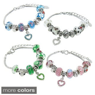 Eternally Haute Murano Style Glass and Crystal Heart Mom Charm Bracelets