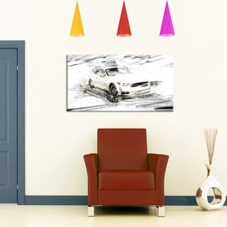 Super Charged White Muscle Car' Gallery-wrapped Canvas