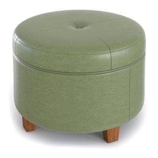 HomePop Large Moss Green Round Storage Ottoman