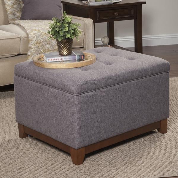 HomePop Charcoal Grey Chunky Textured Storage Ottoman