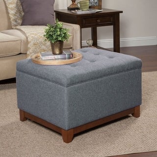 HomePop Charcoal Grey Chunky Textured Storage Ottoman