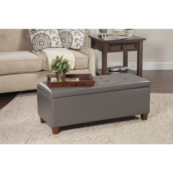 HomePop Charcoal Gray Leatherette Storage Bench 14691847
