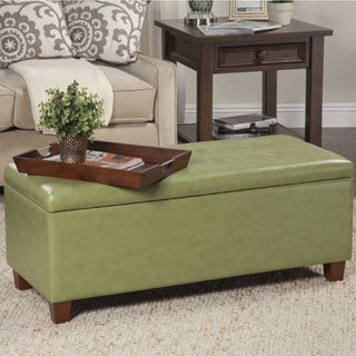 HomePop Moss Green Leatherette Large Storage Bench