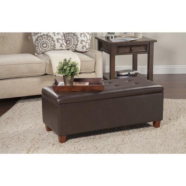 HomePop Chocolate Brown Large Storage Bench 14691851