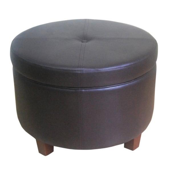 organizer round chocolate brown storage ottoman footstool furniture