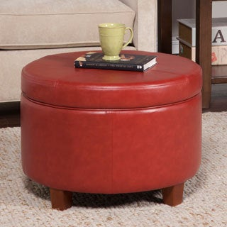 HomePop Cinnamon Red Leatherette Round Storage Ottoman