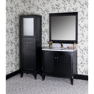 Country Style 36-inch Carrara White Marble Top Single Sink Bathroom Vanity 4 piece Set in Black Finish